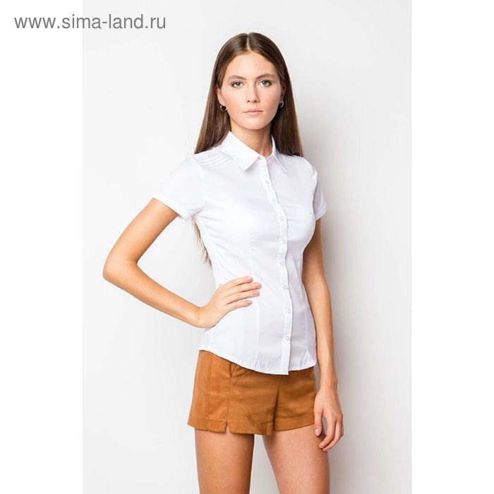 Блузка короткий рукав арт.905-132189L-1 С+, р-р 54, цвет белый