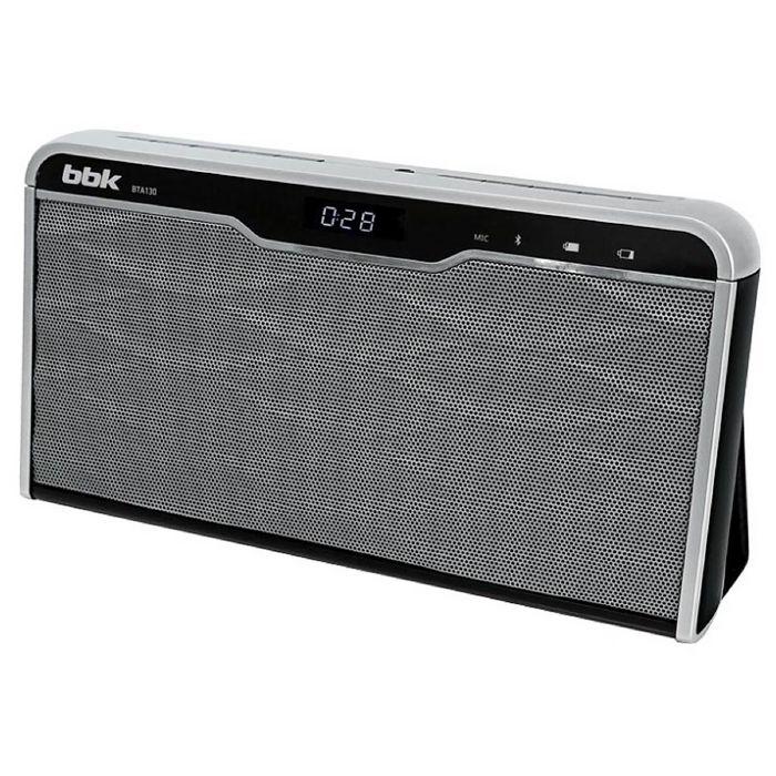 Портативная колонка BBK BTA130, 2х6Вт, MP3, FM, Bluetooth,Li-Ion 800 mAh,черная/серебристая