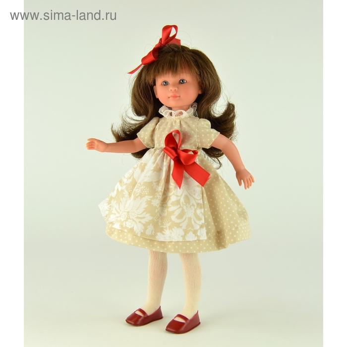 """Кукла """"Селия"""" в песочном платьице с красным атласным бантом"""