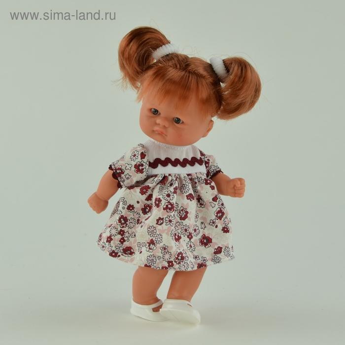 """Кукла """"Пупсик в молочно-розовом платье с бордовым принтом"""""""