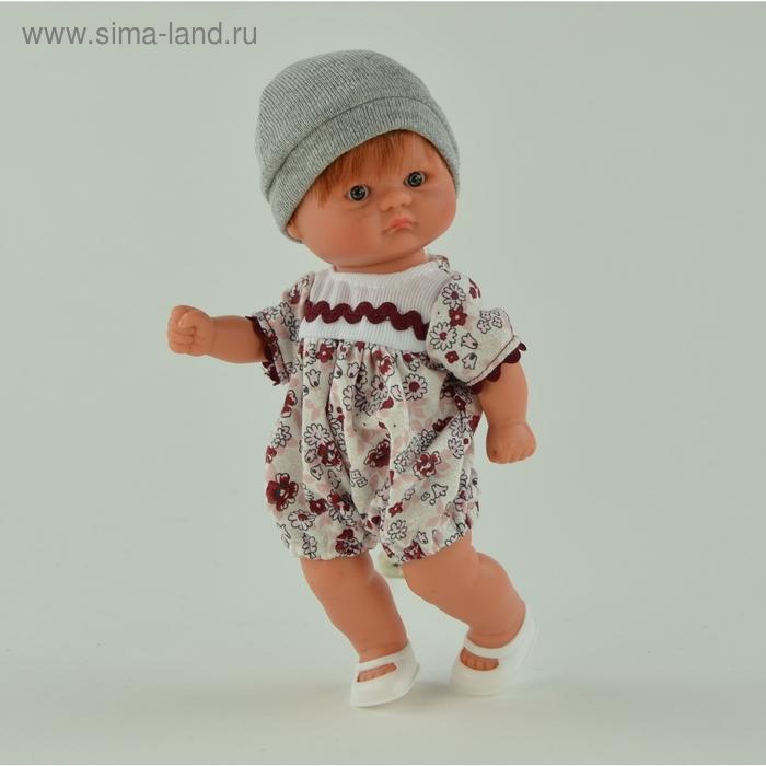 """Кукла """"Пупсик в молочно-розовом костюмчике с бордовым принтом"""""""