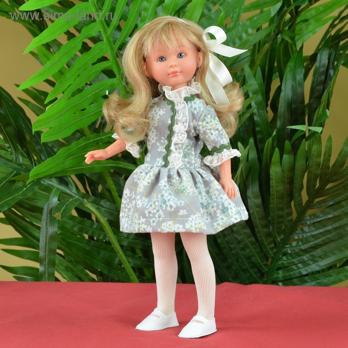 """Кукла """"Селия"""" в сером платьице с зелёным принтом и вставками"""