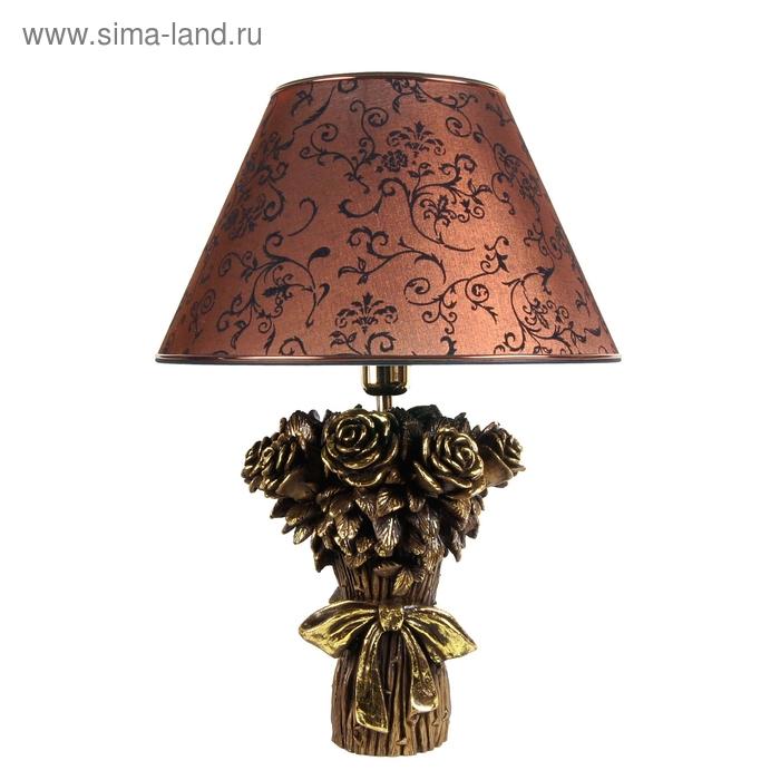 """Настольная лампа """"Букет роз"""", коричневый"""