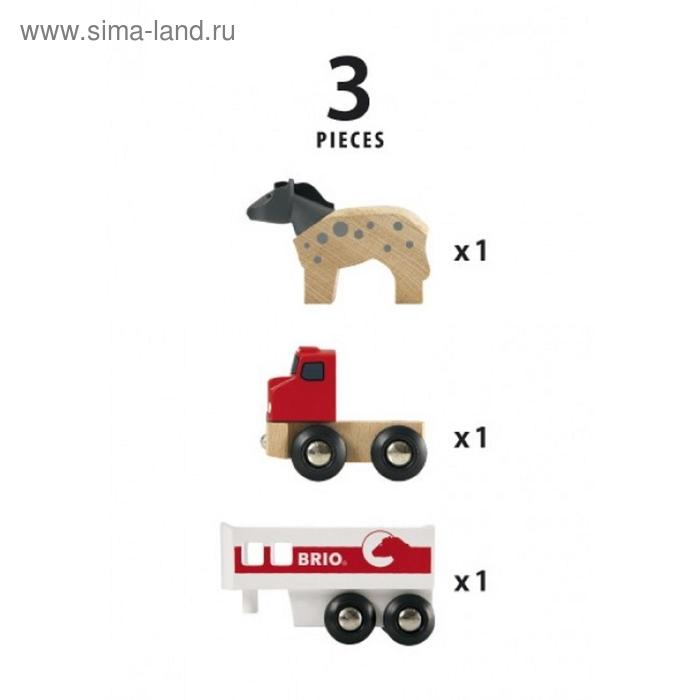 BRIO.Трейлер для перевозки лошадей с лошадью, 3 элемента,12,45х3,4х5,1см, шт