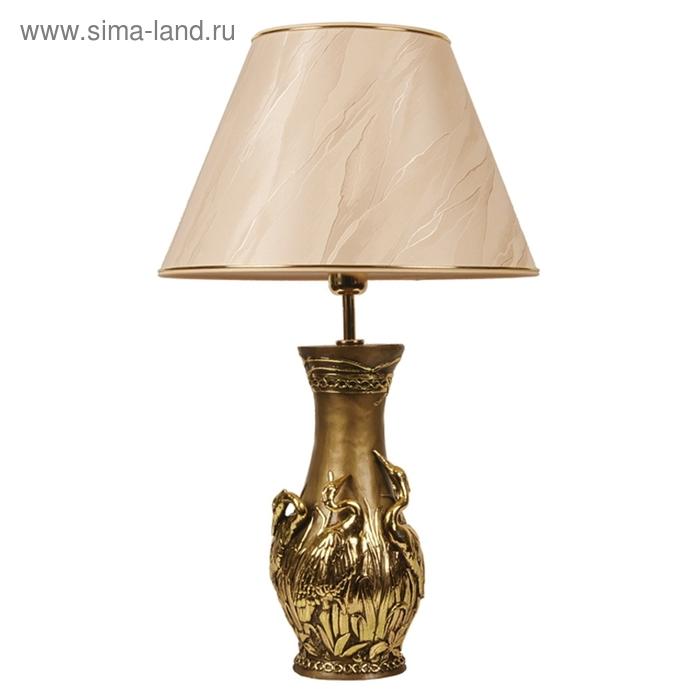 "Настольная лампа ""Танцующие цапли"", шелк бежевый"