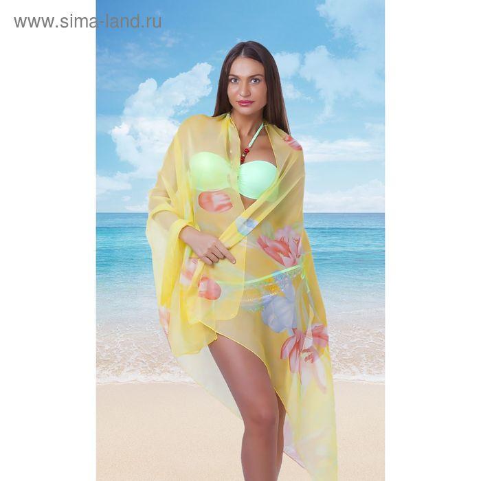 Платок-парео женский Тюльпаны 100*180см, цвет желтый УЦЕНКА