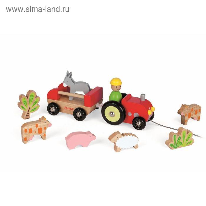 """Каталка на верёвочке """"Трактор с животными"""""""