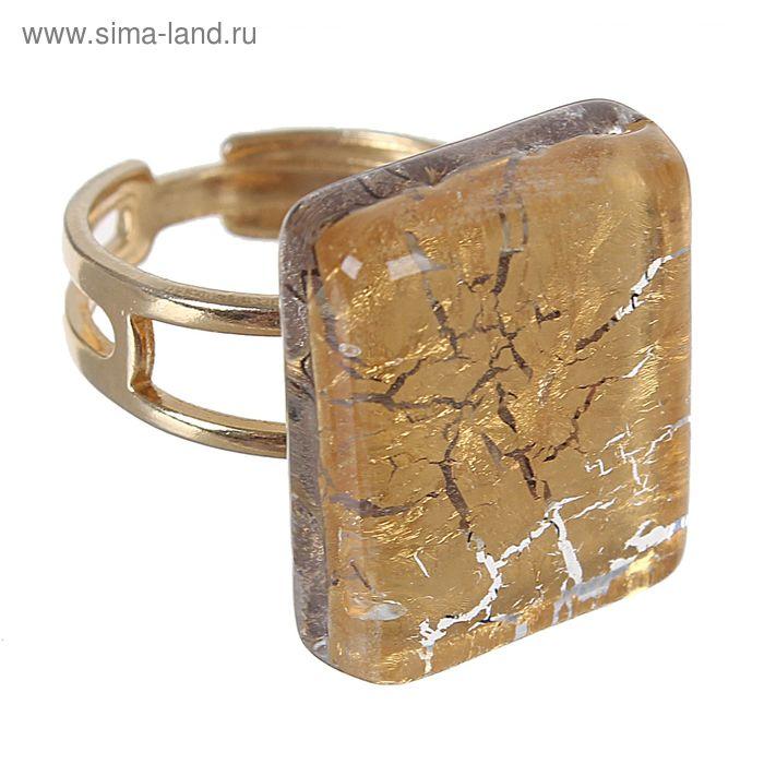Кольцо Fusione, сусальное золото, прямоугольник, безразмерное