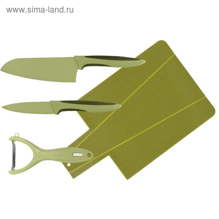 Набор ножей, CALVE, 4 предмета: восточный нож Santoku 13 см, нож для чистки 9 см, овощечистка, доска