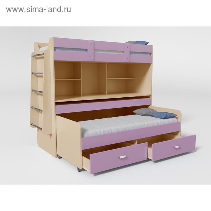 Кровать 2х ярусная № 2 1900х750х1700 Дуб молочный/Лиловый