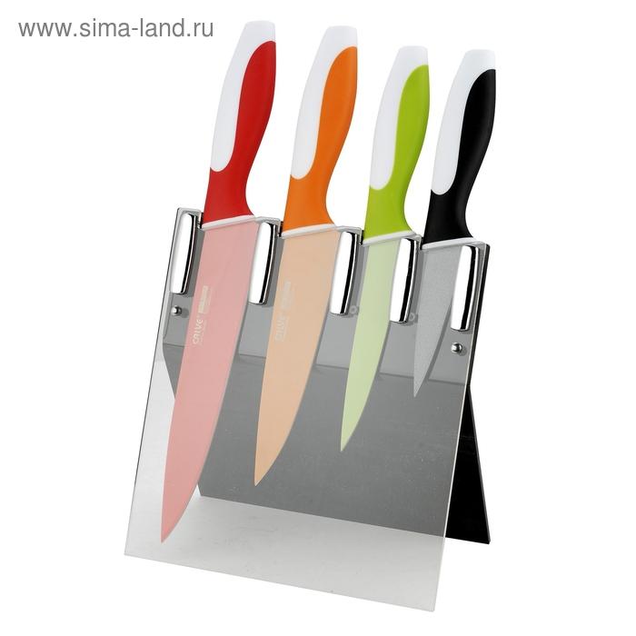 Набор ножей, CALVE, 5 предмета: восточный нож Santoku 13 см, нож поварской 20 см, нож универсальный