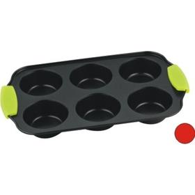 Форма для кексов, 6 ячеек, с силиконовыми ручками, с антипригарным покрытием
