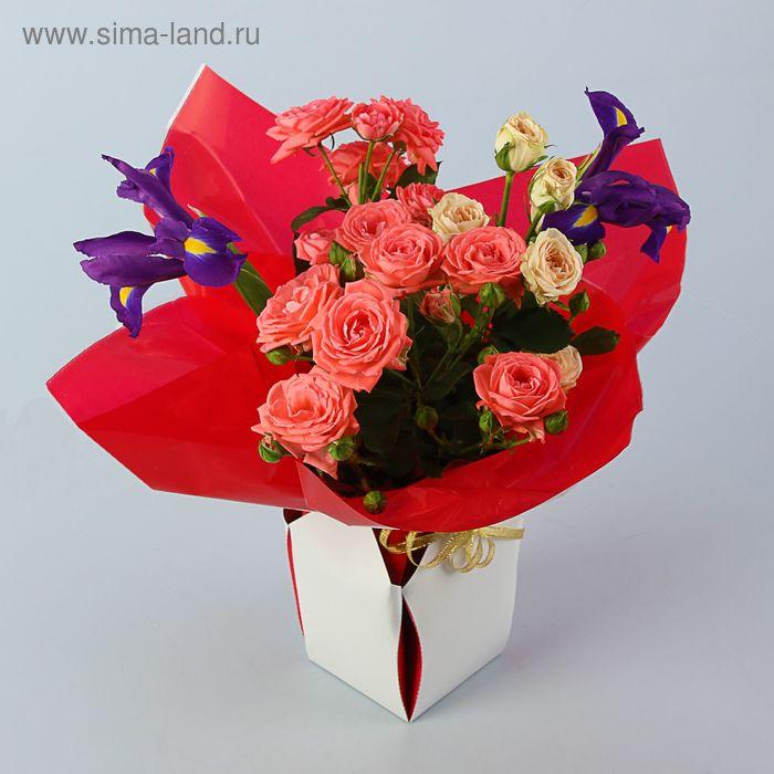 Коробка для цветов 2в1, 12х17 см, сборная, ярко-красный