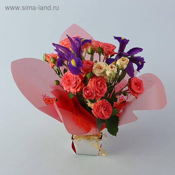 Коробка для цветов 2в1, 6х9 см, сборная, красный с рисунком