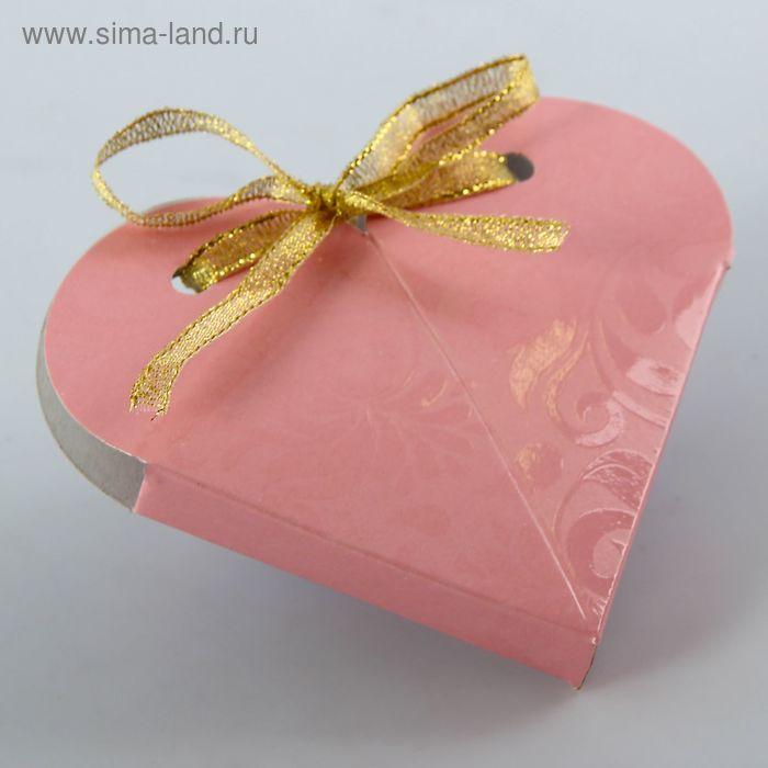 """Коробка """"Сердце"""", сборная, розовая, 8 х 4 см"""