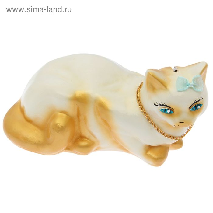 """Копилка """"Кошка Ляля"""" малая, глянец, бело-золотая"""