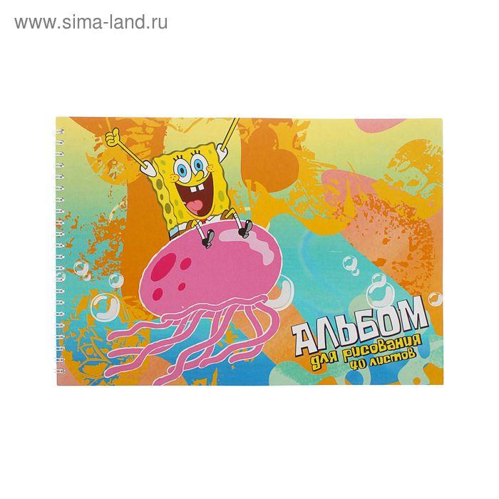 """Альбом для рисования А4, 40листов на гребне """"Губка Боб"""", обложка мел карт 235 гр/м2 86111"""