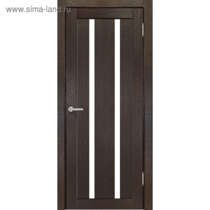 Дверное полотно остекленное Сицилия Венге, белый лакобель 2000х800
