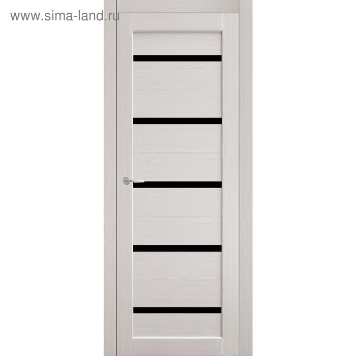 Дверное полотно остекленное Аврора Дуб перламутр, черный лакобель 2000х600