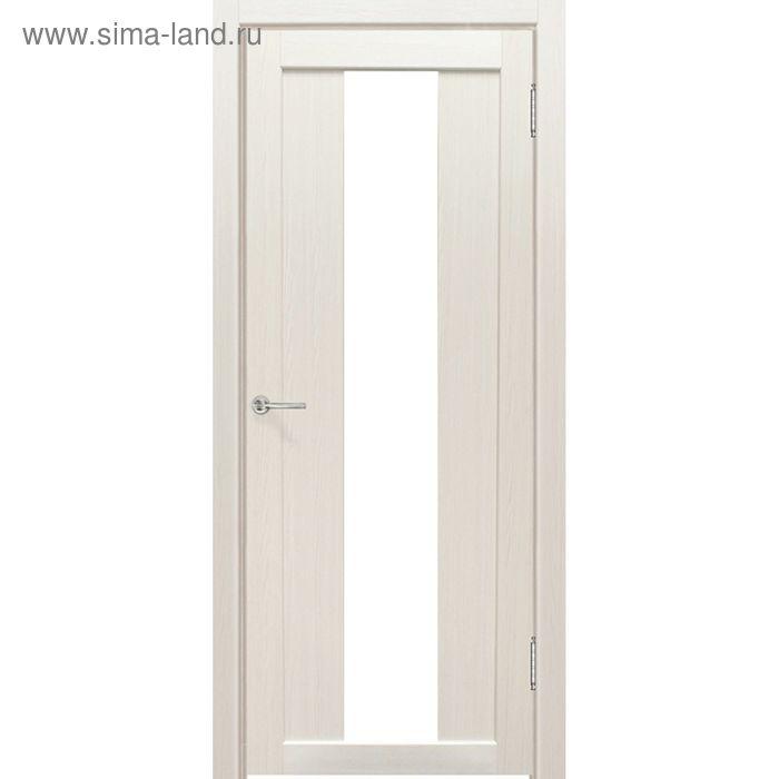 Дверное полотно остекленное Сардиния Дуб перламутр, белый лакобель 2000х700
