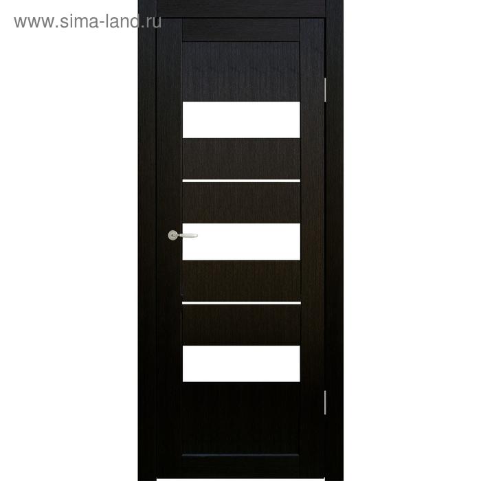 Дверное полотно остекленное Мальта Венге, белый лакобель 2000х600