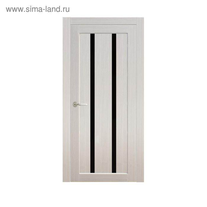 Дверное полотно остекленное Сицилия Дуб перламутр, черный лакобель 2000х600