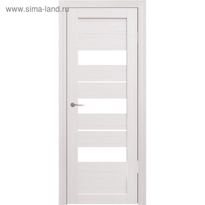 Дверное полотно остекленное Мальта Дуб перламутр, белый лакобель 2000х800
