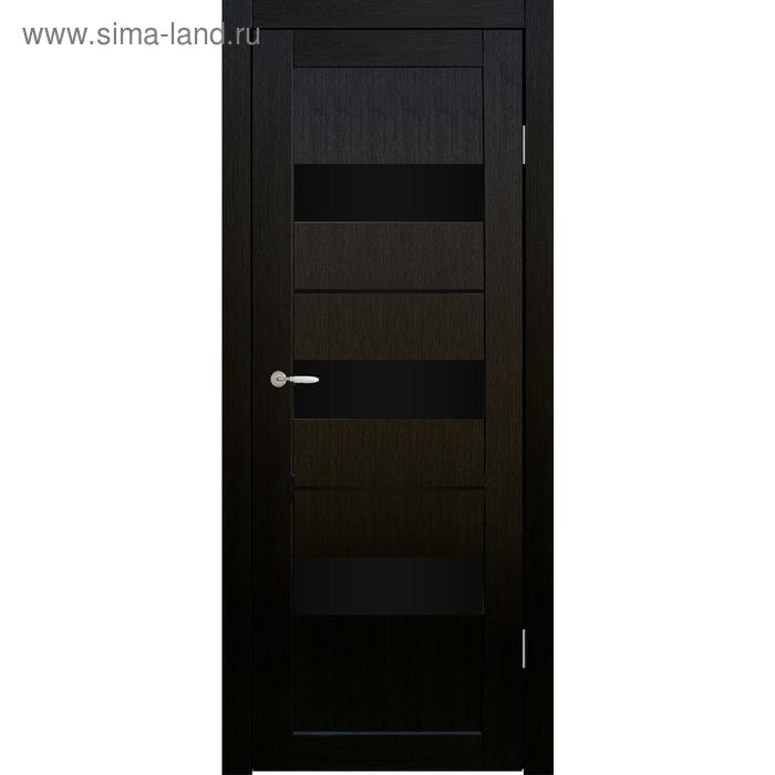 Дверное полотно остекленное Мальта Венге, черный лакобель 2000х900
