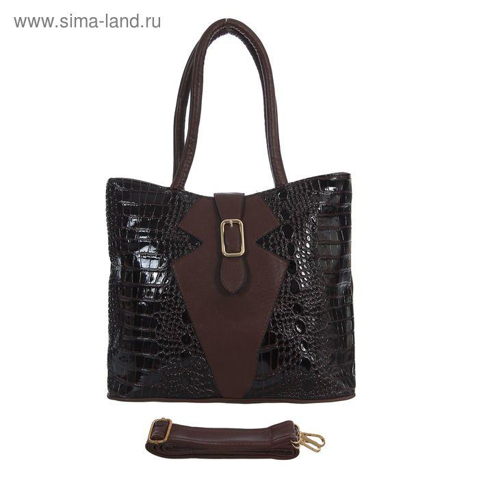 Сумка женская на молнии, 1 отдел с перегородкой, 1 наружный карман, коричневая