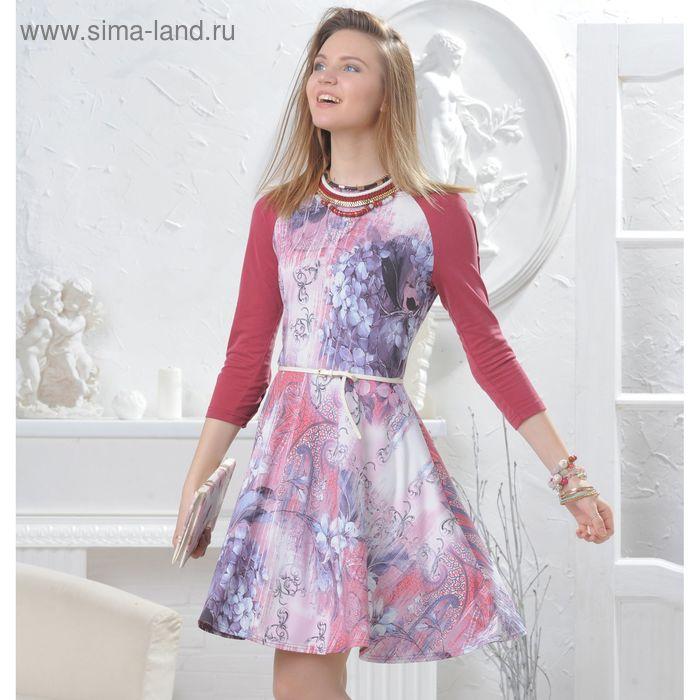 Платье, размер 50, рост 164 см, цвет сирень/терракот (арт. 4566 C+)