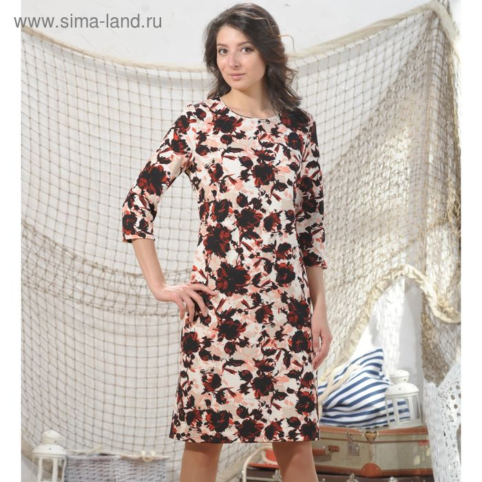 Платье, размер 48, рост 164 см, цвет красный/бежевый/белый/чёрный (арт. 4963)