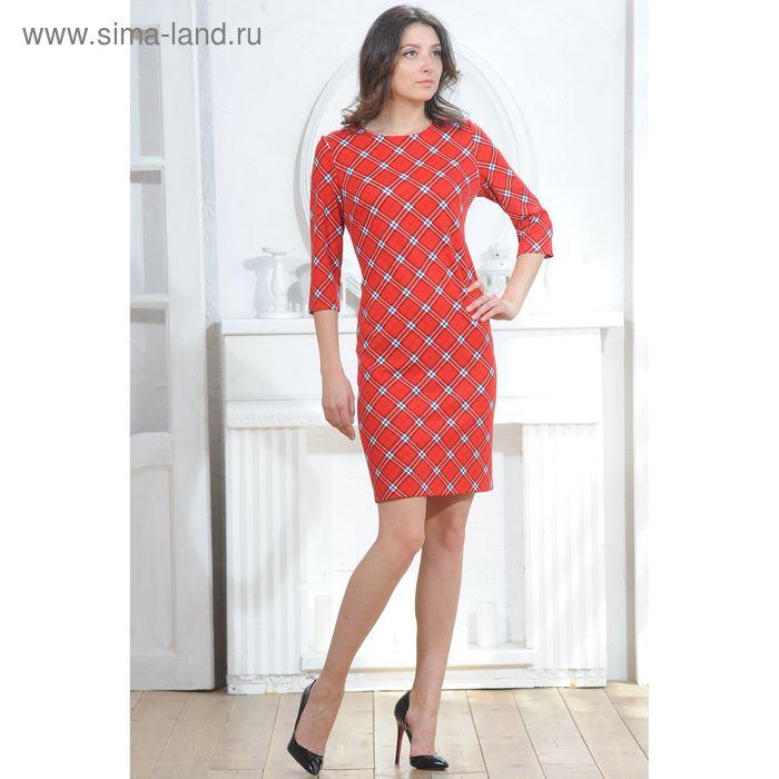 Платье, размер 52, рост 164 см, цвет красный (арт. 5003а C+)