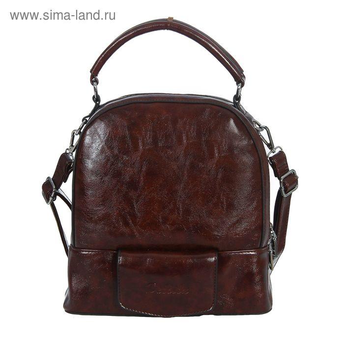 Сумка-рюкзак на молнии, 2 отдела, 1 наружный карман, коричневая
