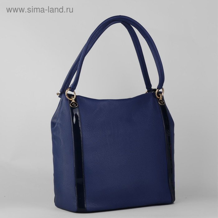 Сумка женская на молнии, 1 отдел с расширением, 1 наружный карман, синяя