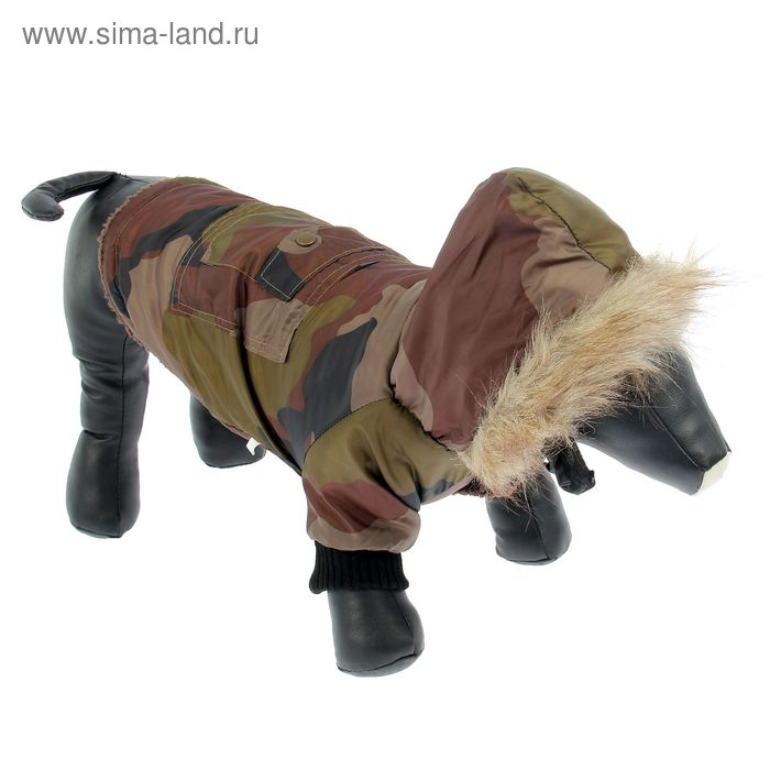 Куртка с капюшоном, отделка мехом, на синтепоне, размер L