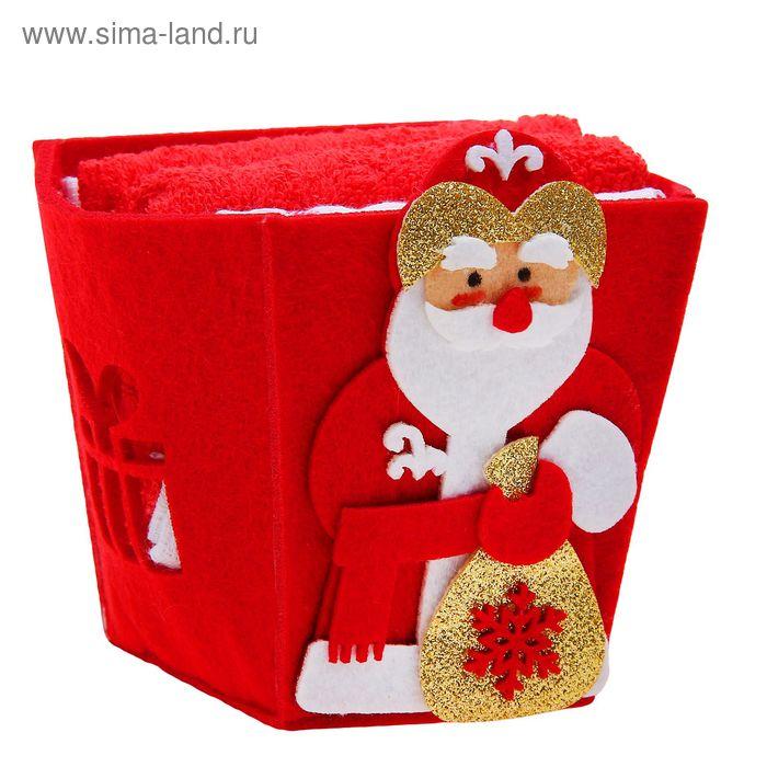 """Набор полотенец в корзинке Collorista """"Дедушка Мороз"""" - 2 шт., 30х30 см махровое, 38х64 см вафельное полотно"""