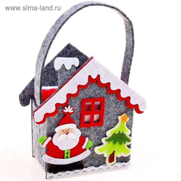 """Набор полотенец в корзинке Collorista """"Новогодний домик"""" - 2 шт., 30х30 см махровое, 38х64 см вафельное полотно"""