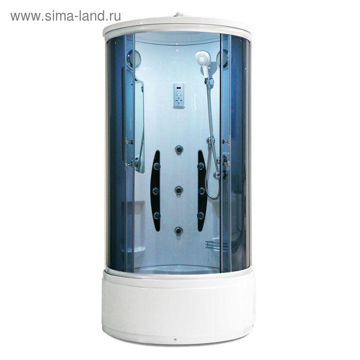 Кабина душевая LUXUS 302В, высокий поддон, переднее закаленное стекло, 900х900х2060 мм