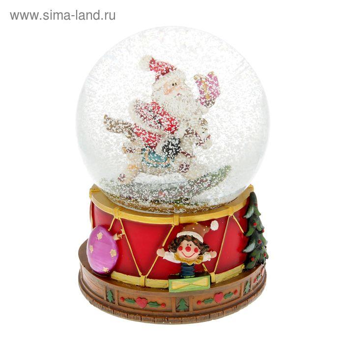 """Сувенир водяной шар """"Дед Мороз на лошадке качалке с подарком"""" музыкальный"""