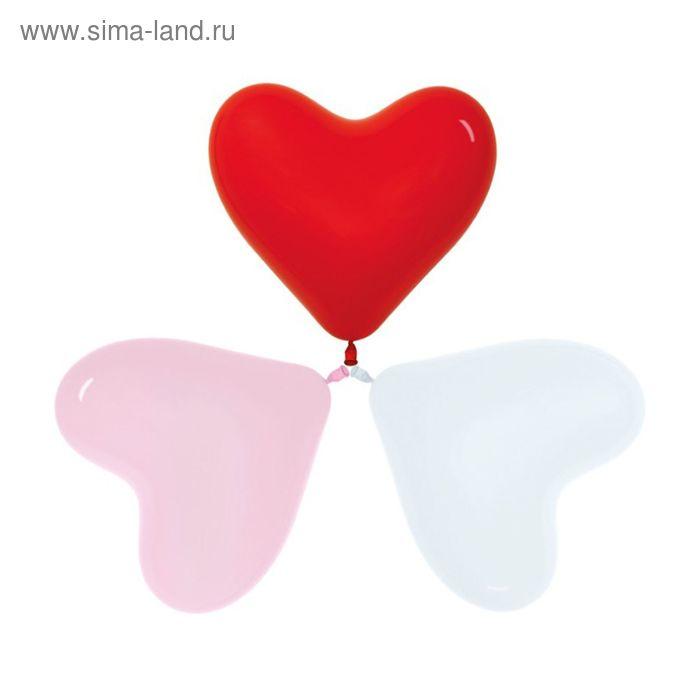 """Шар латексный 12"""", сердце, набор 12 шт., цвета МИКС"""