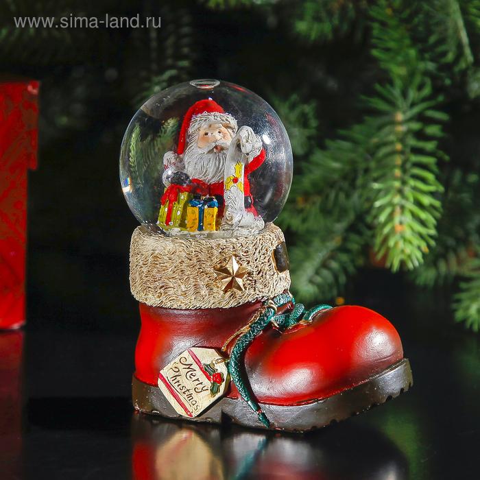 """Сувенир водяной шар в форме ботинка """"Дед Мороз со списком"""""""
