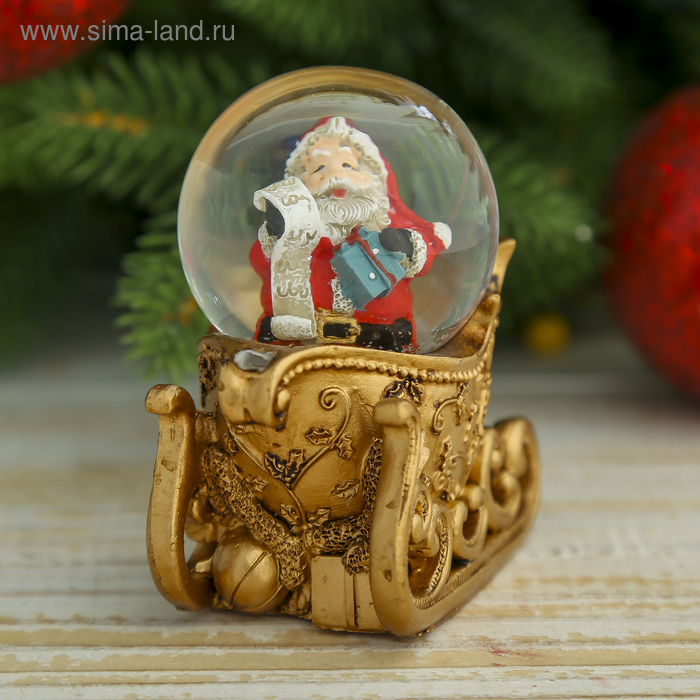"Сувенир водяной шар ""Дед Мороз на санях"""