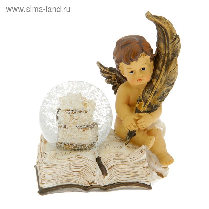 "Сувенир водяной шар ""Ангел на книге с пером"""