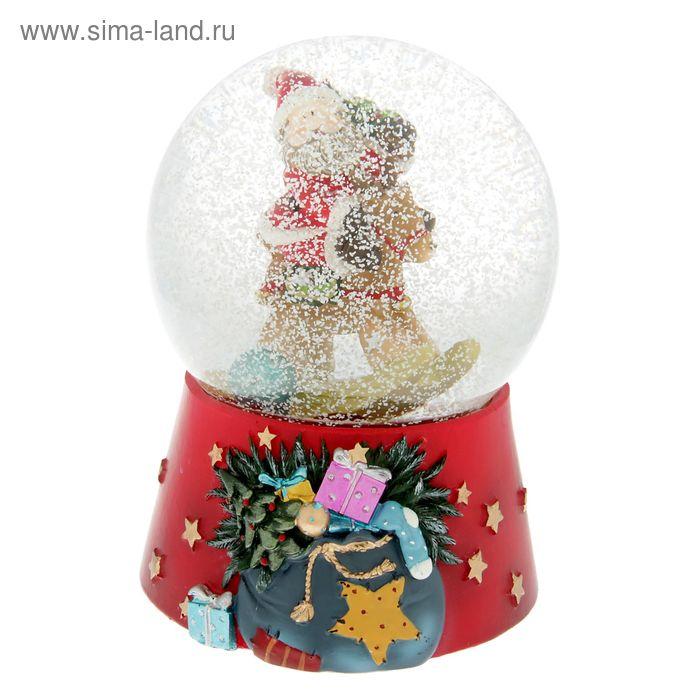 """Сувенир водяной шар """"Дед Мороз на лошадке — качалке"""" музыкальный"""