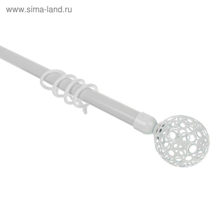 """Карниз однорядный раздвижной 160-310 см, d=16/19 мм """"Сфера"""", 24 кольца, 3 крепления, цвет белый"""