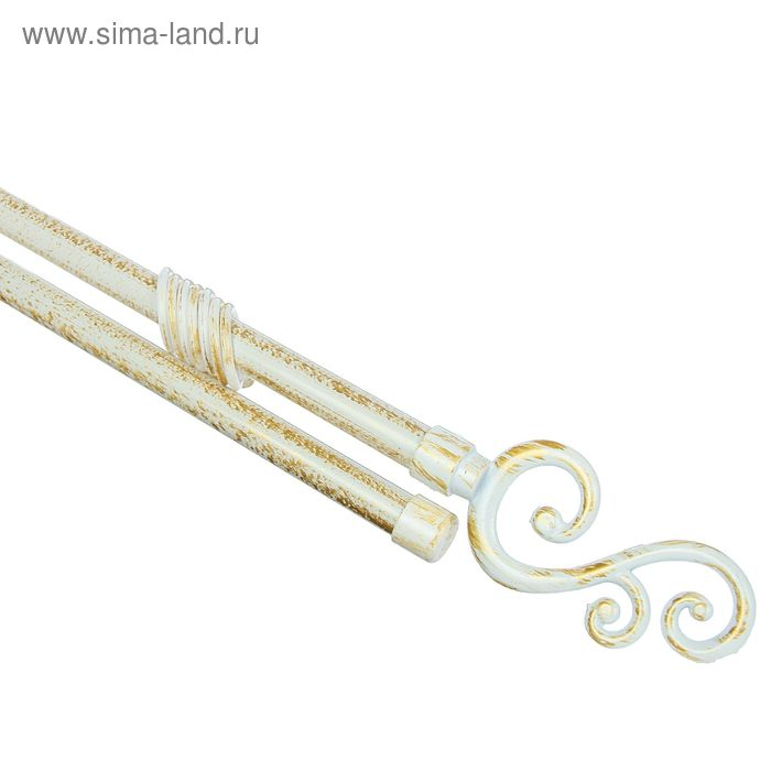 """Карниз двухрядный раздвижной 120-210 см, d=16/19 мм """"Завиток"""", 32 кольца, 2 крепления, цвет белый с золотом"""