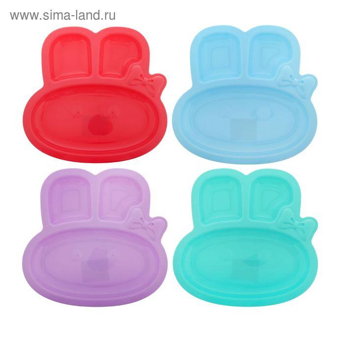 Тарелка детская пластиковая «Зайка», от 5 мес., цвета МИКС