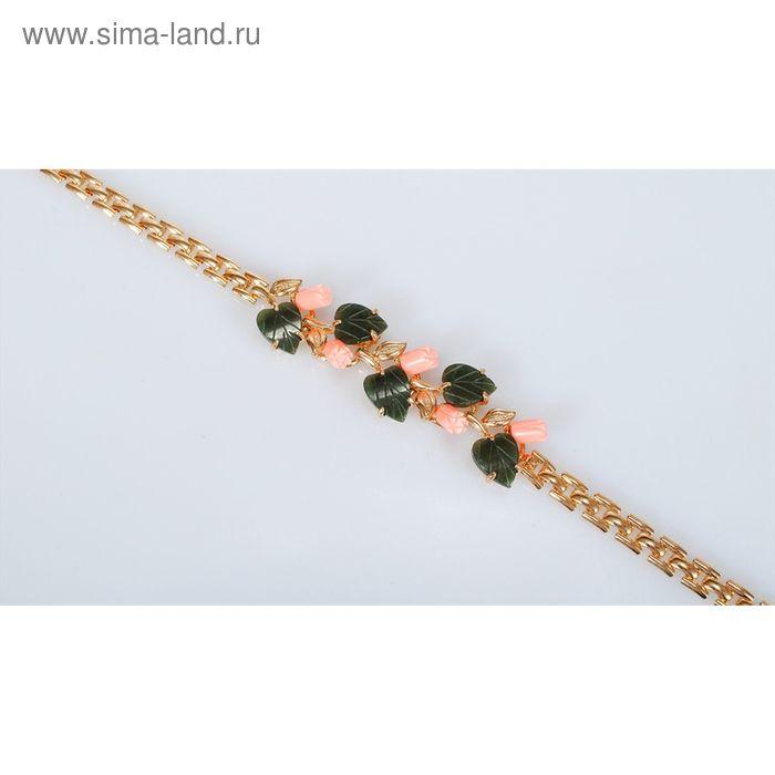 """Браслет """"Коралл, нефрит"""", розы с листьями"""