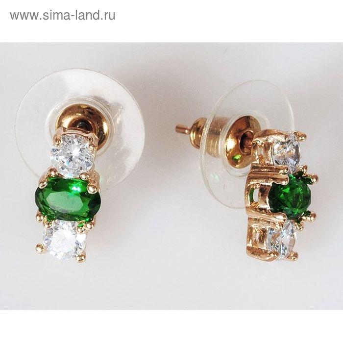 """Серьги """"Фианит"""" зеленый 3 камня"""