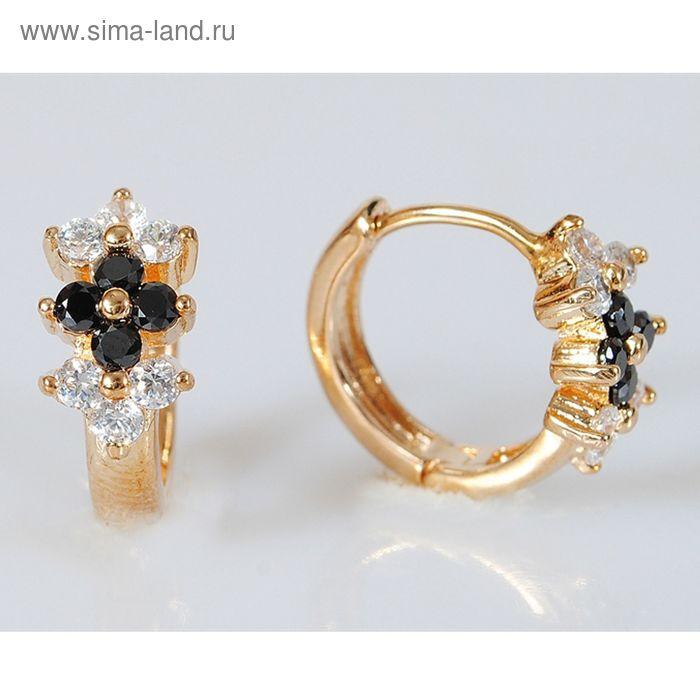 """Серьги """"Фианит"""" черный 3 цветка"""